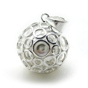 Mexican Bola Bubble 20mm. Rhodium Plated