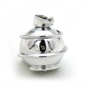 Mexican Bola Swirl Shaped 20mm. Rhodium Plated