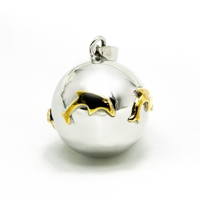 Mexican Bola Dolphins 20mm. 2 Tone Gold Plated