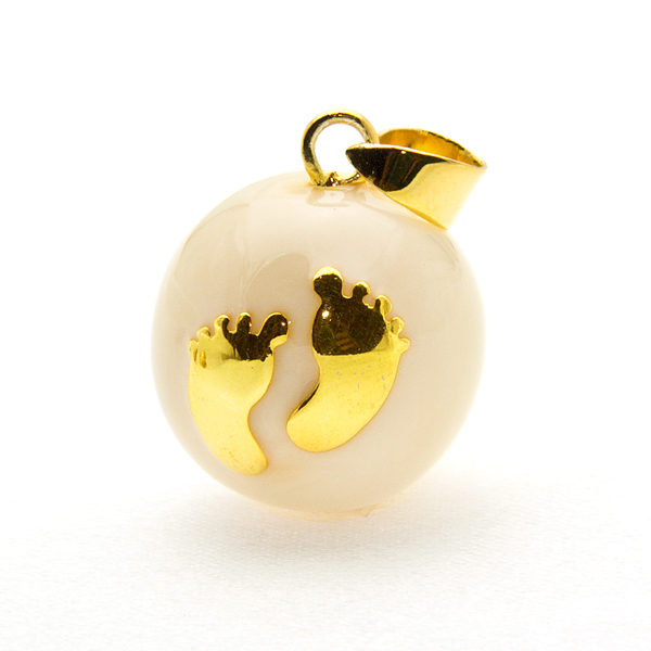 Mexican Bola Baby Feet-Gold Plated-Pearl Enamel