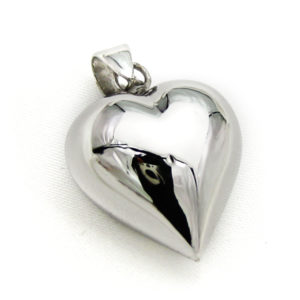 Mexican Bola Heart Shaped 20mm. Rhodium Plated