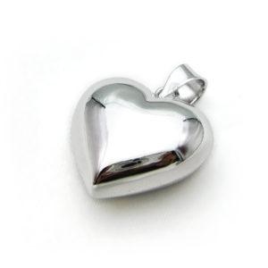Mexican Bola Heart Shaped 25mm. Rhodium Plated